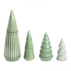 Dekorations Juletræ I Porcelæn 4 Stk Grøn/grå