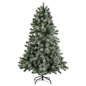 Nordic Winter kunstigt juletræ med lys og sne