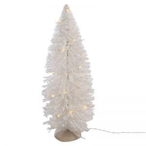 Juletræ Hvid Plast Med Led-lys 21,5x7x7 Cm.