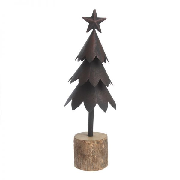 Juletræ Sort Metal På Træstub 41 Cm