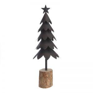 Juletræ Sort Metal På Træstub 55 Cm