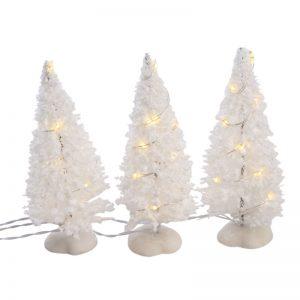 Juletræer Hvide Med Led-lys 3 Stk. 10x3,5x3,5 Cm.