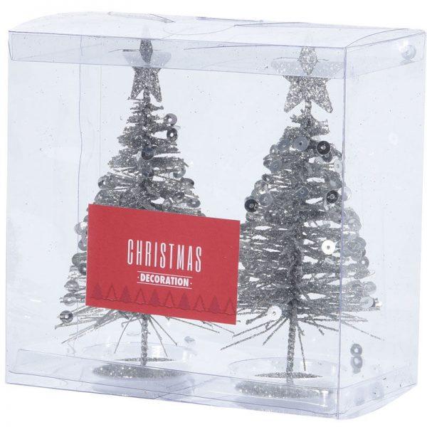 Juletræer Sølv 10 Cm. - 2 Stk.
