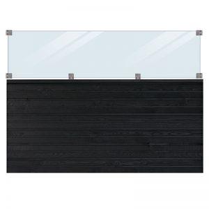 Plus Plank Profilhegn Inkl. Glas 174x125 Cm Trykimprægneret/sort