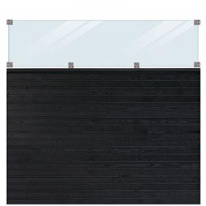 Plus Plank Profilhegn Inkl. Glas 174x163 Cm Trykimprægneret/sort