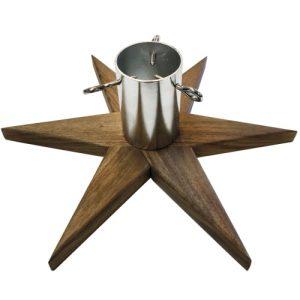 Stjerneformet juletræsfod - Akasiatræ og krom